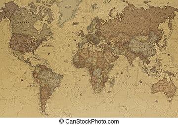 világ, ősi, térkép