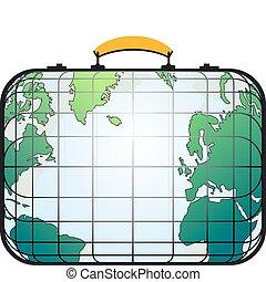 világ, bőrönd, szeret, térkép