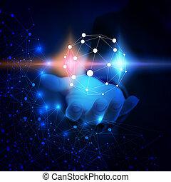 világ, connected., elvont, technológia, network.