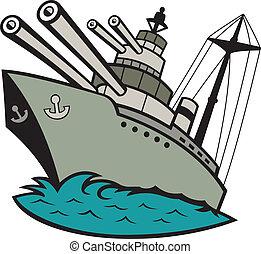 világ, csatahajó, háború, két, karikatúra