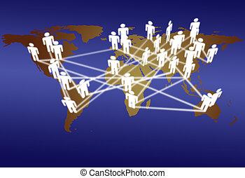világ, emberek, összekapcsol, hálózat, média, kommunikáció