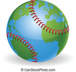 világ földgolyó, baseball labda, fogalom