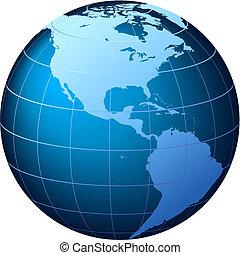 világ földgolyó, -, usa, kilátás, -, vektor