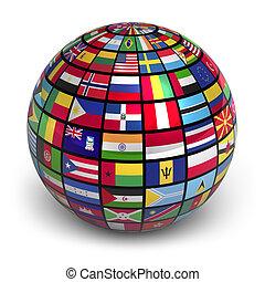 világ földgolyó, zászlók