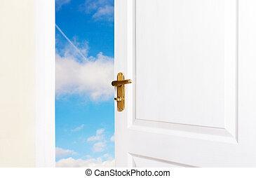 világ, fehér, nyílik, ajtók, új