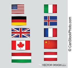 világ, flags., vektor, illustration.
