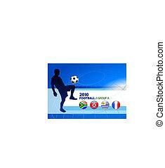 világ, futball, csoport, labdarúgás