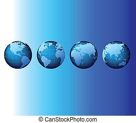 világ, -, globális, állhatatos, sorozat, -, vektor