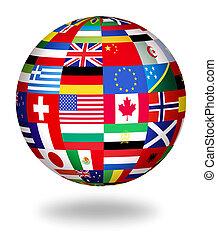 világ, globális, zászlók