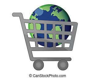 világ, globalization, bevásárlókocsi