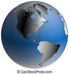 világ, globe:america, noha, blue-shaded, óceánok