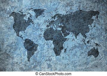 világ, grunge, térkép