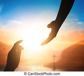 világ, jézus, kéz, concept:silhouette, ki, béke, nap, elérő