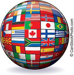 világ, kép, vektor, zászlók, globe.