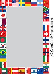 világ, keret, zászlók, ikonok