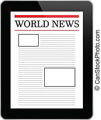 világ, kiállítás, ügy, tabletta, hír