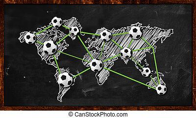 világ, labda, összeköttetés, képben látható, tábla