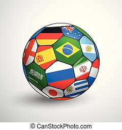 világ, labdarúgás, bajnokság, concept., focilabda, noha, különböző, zászlók