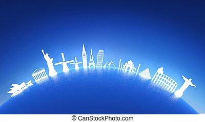 világ, legtöbb, híres, iránypont, ikonok, képben látható, víz, noha, visszaverődés