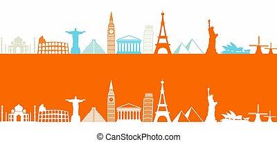 világ, legtöbb, híres, iránypont, színes, ikonok, egymásra következő