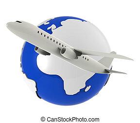 világ-, menekül, őt előad, utazás, repülőgép, és, repülőgép