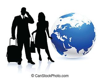 világ, mindenfelé, utazó, párosít, fiatal