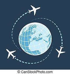 világ, mindenfelé, utazó, szállít, levegő
