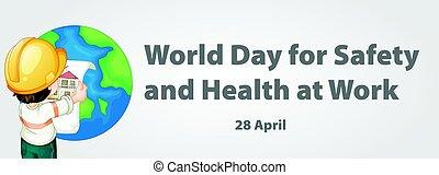 világ, nap, helyett, biztonság, és, egészség, munkában, poszter