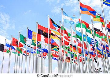 világ, nemzeti, zászlók