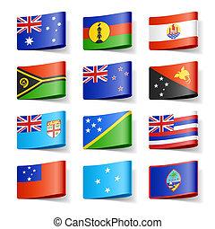 világ, oceania., flags.