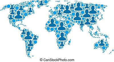 világ térkép, emberek, lakosság