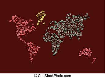 világ térkép, ikon