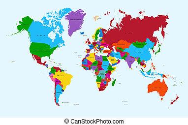 világ térkép, színes, országok, atlasz, eps10, vektor, file.