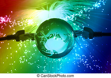 világ térkép, technológia, mód, ellen, rost optic, háttér