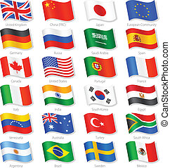 világ, tető, országok, vektor, nemzeti, zászlók
