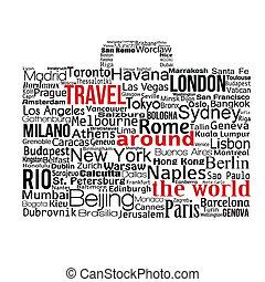 világ utazik, fogalom, mindenfelé