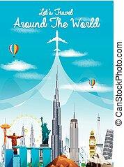 világ utazik, idegenforgalom, landmarks.