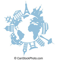 világ utazik, iránypont, és, nyelvemlékek