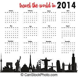 világ utazik, naptár, 2014