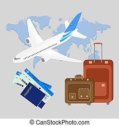 világ utazik, vektor, idegenforgalom, háttér, lakás, bags., isometric, transzparens, útlevél, térkép, composition., ábra, repülőgép, design., háttér.