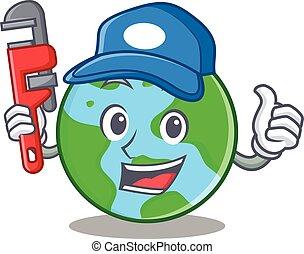 világ, vízvezeték szerelő, betű, földgolyó, karikatúra