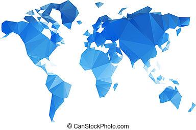 világ, vektor, háromszögű, reszelő, térkép