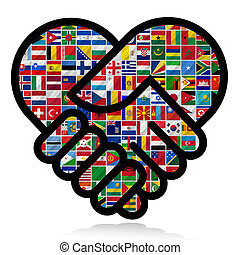 világ, zászlók, együttműködés