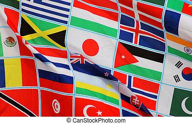 világ, zászlók, háttér