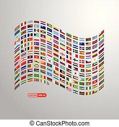 világ, zászlók, tervezés, vektor