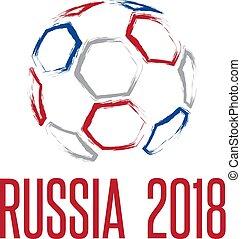 világbajnokság, alatt, oroszország, 2018, vektor, ábra, noha, labda
