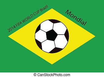 világbajnokság, futball, lobogó, brazília, 2014