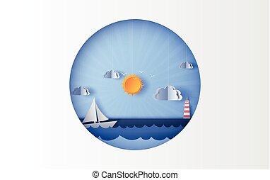 világos, úszó, nyár, poszter, sky., vitorlázás, mód, summertime idő, művészet, kilátás, világítás, vektor, season., hajó, dolgozat, nap, csónakázik, shadow., karika, print., kék, ábra, tenger, táj