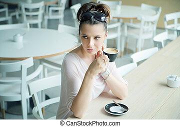 világos bőr, hölgy, -ban, a, kávécserje megszakadás