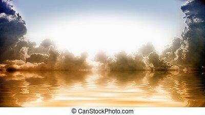 világos csillogó, alapján, ég